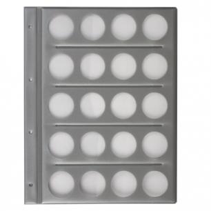 Планшет-вкладыш А4 на  20 монет, ПВХ, с перфорацией, с картонным разделител. для записей, ДПС, 2867/20