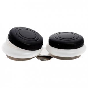 Масленка пластиковая двойная с крышкой, диаметр 5см.,  высота 1,7см., DK11004
