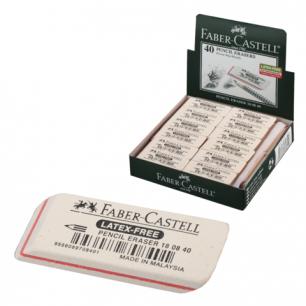 """Резинка стирательная FABER-CASTELL """"7008"""", для графит каранд., каучук, 50x19x8мм, белая, 180840"""