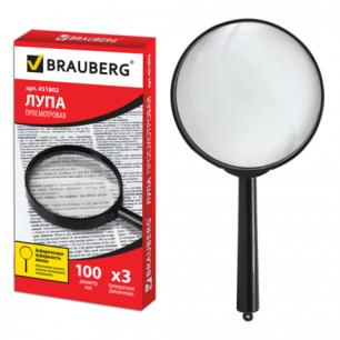 Лупа просмотровая BRAUBERG диаметр 100 мм, увеличение 3, 451802
