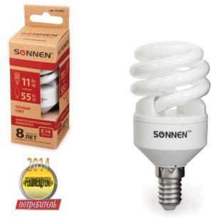Лампа люминесц. энергосбер. SONNEN Т2, 11 (55) Вт, цоколь E14, 8000ч, тепл. свет, 451067