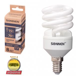 Лампа люминесц. энергосбер. SONNEN Т2, 15 (70) Вт, цоколь E14, 8000ч, хол. свет, эконом, 451072