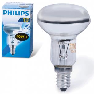 Лампа накаливания PHILIPS Spot R50 E14 30D, 40Вт, зеркал., колба d=50мм, цоколь d=14мм, угол30°, 054159