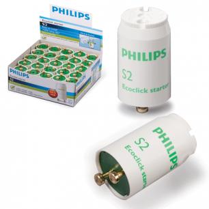 Стартеры для люминесцентных ламп PHILIPS S2,КОМПЛЕКТ25шт, 4-22W 220-240V (двухламповая.схема подключ)