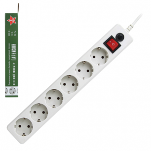 Сетевой фильтр ГАРНИЗОН ЕНW-10, 6 розеток, 3 м