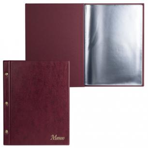 """Папка """"Меню"""" на трех винтах с 10 файлами, 220*320мм, бордовая, ДПС, 2273.М-103"""