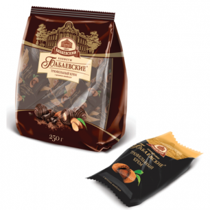 Конфеты шоколадные БАБАЕВСКИЙ с трюфельным кремом, 250г, пакет, ББ12378