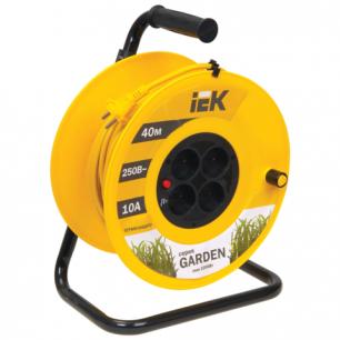 Удлинитель на катушке IEK (ИЕК)  GARDEN, ГОСТ Р51539, 4 розетки, 40м, 2х1мм, 2200Вт, б/заземления.