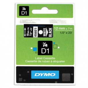 Картридж для принтеров этикеток DYMO D1 12мм*7м, лента пластиковая, белый шрифт, черный фон S0720610