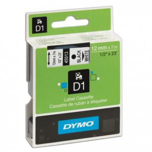 Картридж для принтеров этикеток DYMO D1 12мм*7м, лента пластиковая, чёрный шрифт, белый фон S0720530