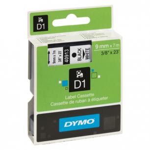 Картридж для принтеров этикеток DYMO D1 9мм*7м, лента пластиковая, чёрный шрифт, белый фон S0720680