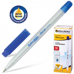 """Ручка шариковая масляная BRAUBERG """"Olive pen"""", корпус прозрачный, толщ. письма 0,5мм, 141476, синяя"""