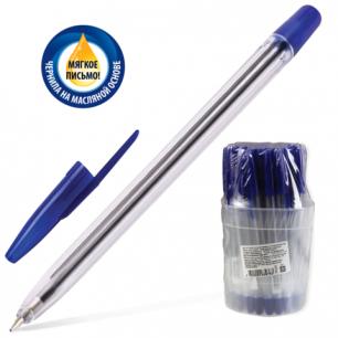 Ручка шариковая масляная СТАММ 111, корпус прозрачный, 1 мм, РС21, синяя