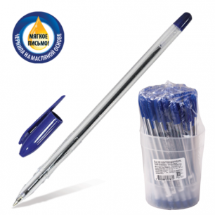 """Ручка шариковая масляная СТАММ """"VeGa"""", корпус прозрач., толщ. письма 0,7мм, РШ101,синяя"""