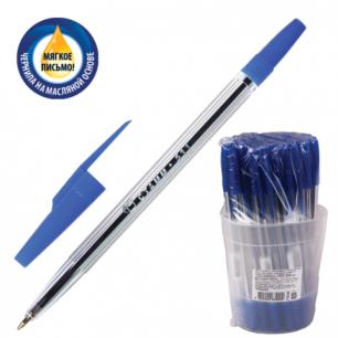 """Ручка шариковая масляная СТАММ """"511"""", корпус прозрач., толщина письма 0,7мм, РК30,синяя"""