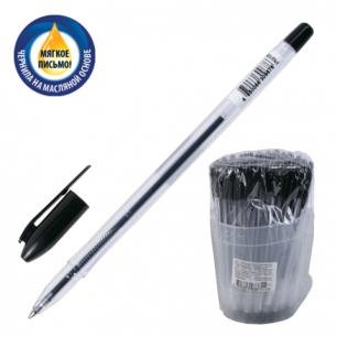 """Ручка шариковая масляная СТАММ """"VeGa"""", корпус прозрач., толщ.письма 0,7мм, РШ108,черный"""