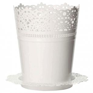 """Кашпо 2л для цветов IDEA, """"Ажур"""", с поддоном, (в18,5*диаметр 15см), цвет белый, М 3092"""