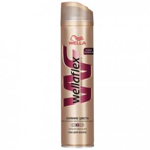 """Лак для волос WELLAFLEX (Веллафлекс)  250мл, """"Сияние цвета"""", сильная фиксация, ш/к 88672"""