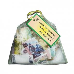 """Сувенир мешочек с деньгами """"В мешке густо, так и дома не пусто"""", прозрачный, BX00000035, ш/к 43325"""