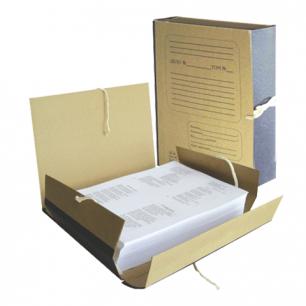 Папка д/бумаг архивная 80 мм, крафт, корешок — бумвинил, 4 х/б завязки, 123203