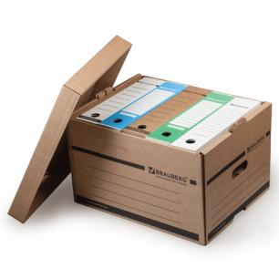 Короб архивный BRAUBERG (в26,5*ш40,5*г33 см), надстраиваемый, с крышкой, картон, бурый, 126521