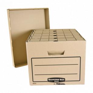"Короб архивный FELLOWES Bankers Box ""Basic"" 33,5x44,5x27см, с крышкой, гофрокартон, коричн, FS-00101"