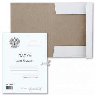 Папка д/бумаг с завязками картонная BRAUBERG, ГЕРБ РОССИИ, гарант. пл. 300 г/м2, до 200л.