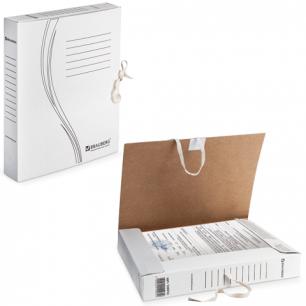 Накопитель документов, Папка с завязками BRAUBERG,  45 мм, 2 х/б завязки, белый, до 400л., 126512
