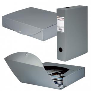 Короб архивный BRAUBERG Energy, пластик, 7 см (на 600л.), разборный, серый, 231540