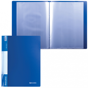 Папка 30 вклад. BRAUBERG Стандарт, синяя, 0,6мм, 221599