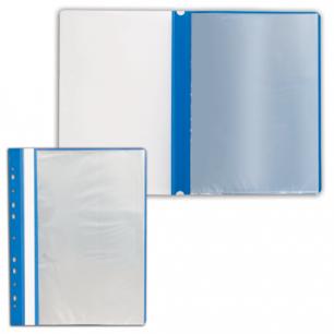 Папка 10 вкладышей STAFF с перфорацией, мягкая, синяя, 0,16мм, 224974