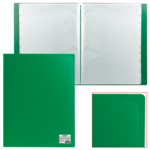 Папка 10 вклад. STAFF эконом, зеленая, 0,5мм, 225691
