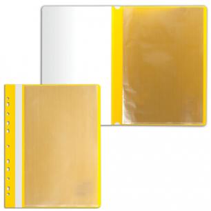Папка 10 вкладышей STAFF с перфорацией, мягкая, желтая, 0,16мм, 224973