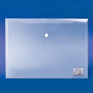 Папка-конверт с кнопкой BRAUBERG А4, прозрачная, до 100 листов, 0,15мм, 221638