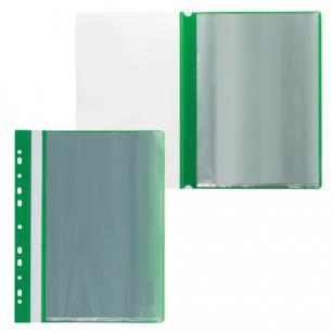 Папка 10 вкладышей STAFF с перфорацией, мягкая, зеленая, 0,16мм, 224975