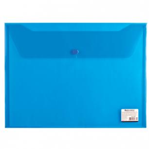 Папка-конверт с кнопкой BRAUBERG А4, прозрачная, синяя, до 100 листов, 0,15мм, 221637