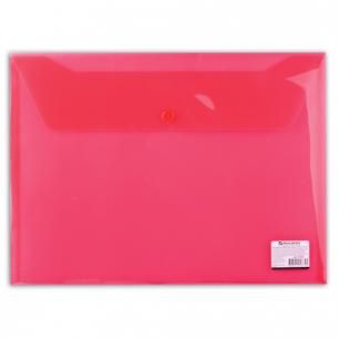 Папка-конверт с кнопкой BRAUBERG А4, прозрачная, красная, до 100 листов, 0,15мм, 221636