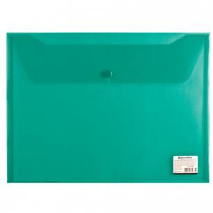 Папка-конверт с кнопкой BRAUBERG А4, прозрачная, зеленая, до 100 листов, 0,15мм, 221635