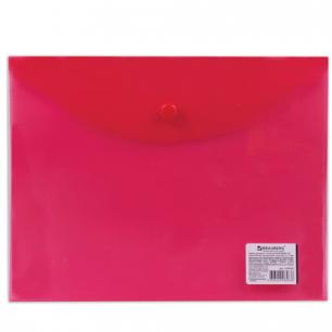 Папка-конверт с кнопкой BRAUBERG А5 240*190мм, прозрачная , красная, 0,15мм, 224026