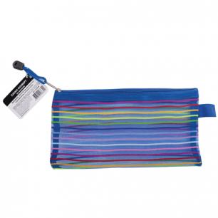 """Папка-конверт на молнии BRAUBERG """"Stripes"""", 255*130мм, д/билетов и док-ов, сетчатая ткань, 224048"""