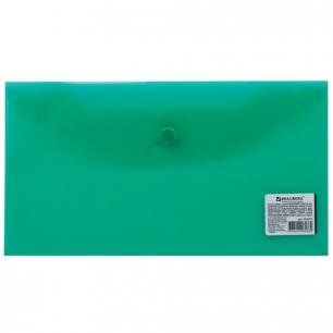 Папка-конверт с кнопкой BRAUBERG 250*135мм, д/билетов и документов, прозр, зеленая, 0,15мм, 224029