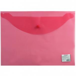 Папка-конверт с кнопкой STAFF эконом, А4, 340*240мм, прозрачная, красная, до 100 лист, 0,12мм, 225172