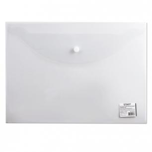 Папка-конверт с кнопкой STAFF эконом, А4, 340*240мм, прозрачная, до 100 листов, 0,12мм, 225173
