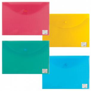 """Папка-конверт с кнопкой BRAUBERG """"My CLEAR BAG"""" А4, прозр, ассорти, до 100 листов, 0,15мм, 225174"""