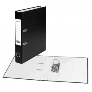 Папка-регистратор STAFF эконом, с покрытием из ПВХ, 50 мм, без уголка, черная, 225186