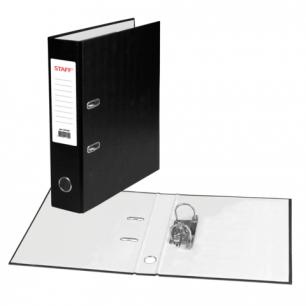 Папка-регистратор STAFF эконом, с покрытием из ПВХ, 70 мм, без уголка, черная, 225187