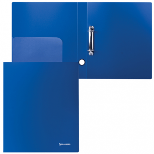 Папка 2 кольца BRAUBERG Стандарт, 40мм, синяя, до 250 листов, 0,9мм, 221617