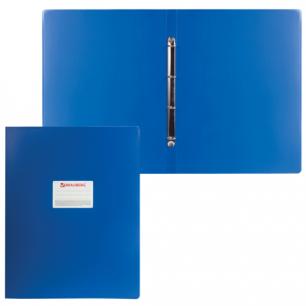 Папка 4 кольца BRAUBERG Cтандарт, А3, ВЕРТИКАЛЬНАЯ, 30мм, синяя, до 250 листов, 0,8мм, 225765