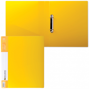 Папка 2 кольца BRAUBERG Contract, 35мм, желтая, до 180 листов, 0,9мм, 221795