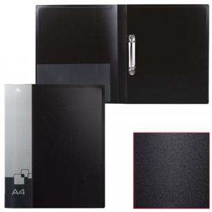 Папка 2 кольца БЮРОКРАТ 27мм, черная, внутр. карман, до 150 листов, 0,7мм, 0827/2Rblck